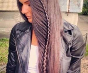 hair, long hair, and trenza image