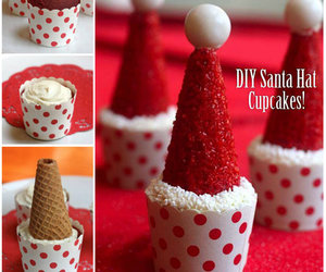 cupcake, wonderful diy, and santa hat image