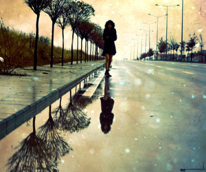 girl, walking, and in the street image