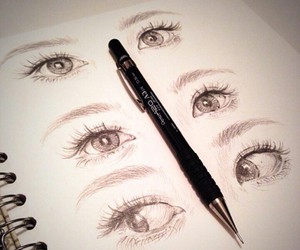 eyes, girl, and drawing image