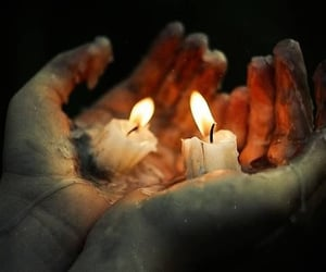 candle, hands, and fire image
