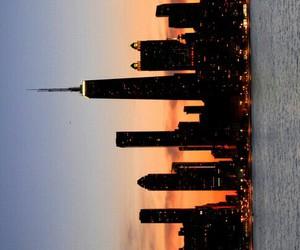 city, sunset, and new york image
