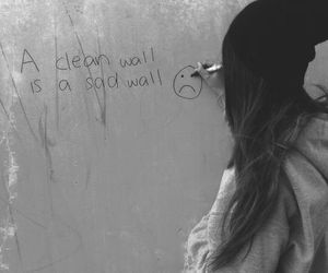 girl, wall, and sad image