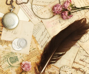 vintage, feather, and flowers image