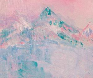 art, pink, and mountains image