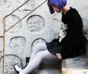 fashion, japanese, and hair. purple image