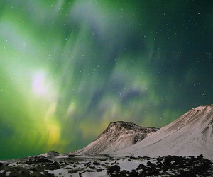 landscape, night, and northern lights image
