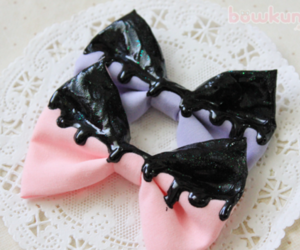 bows, cute, and black image