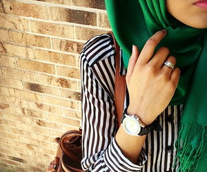 hijab, style, and green image