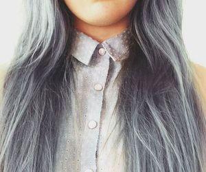 hair, grey, and long hair image