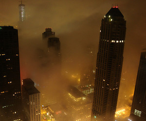 city, building, and fog image