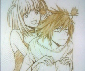 death note, dibujo, and L image