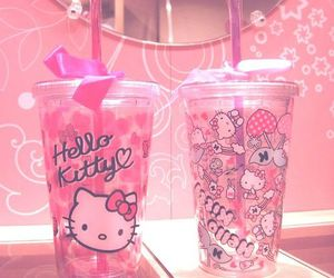 pink, hello kitty, and drink image