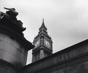 london and black and white image