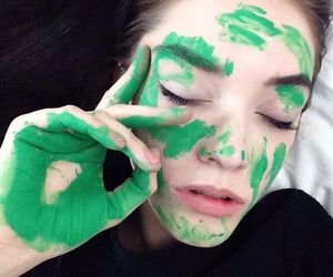 green, girl, and pale image