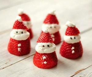 strawberry, christmas, and santa image