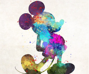 color splash, colorful, and mickey image