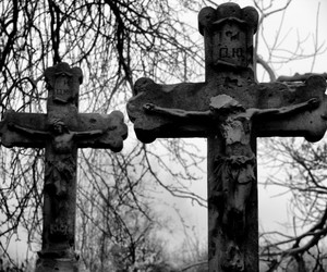black and white and cross image
