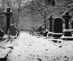 cemetery, snow, and black and white image
