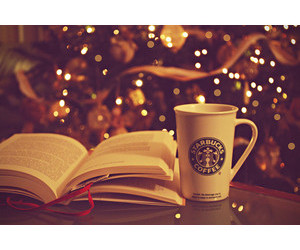 christmas, starbucks, and book image
