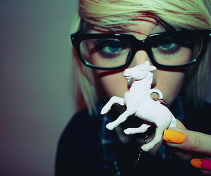girl, glasses, and horse image