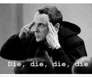 black and white, sheldon cooper, and die image