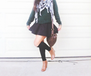 autumn, black skirt, and brown purse image