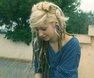 girl, dreads, and hair image