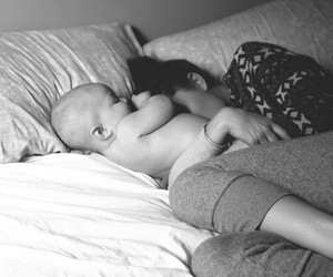 baby, mom, and black and white image
