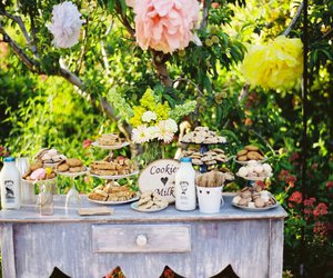 flowers, milk and cookies, and wedding image