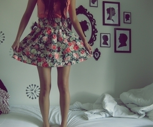 girl, skirt, and flowers image