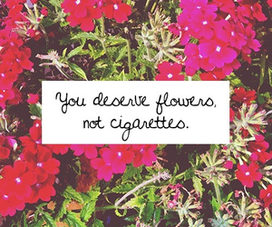 flowers, cigarettes, and quote image