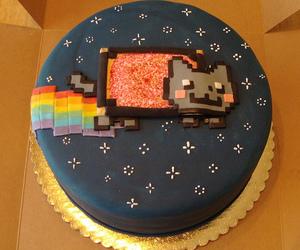 cake, nyan cat, and food image