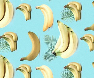 banana, background, and blue image