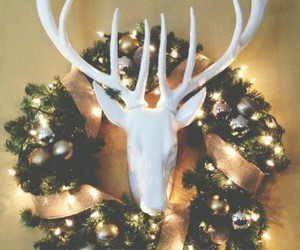 christmas, gold, and wreath image