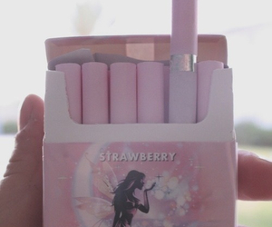 pink, cigarette, and strawberry image