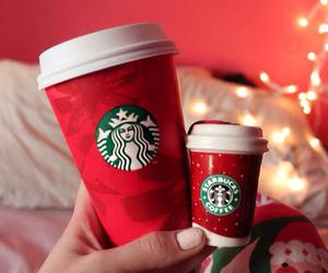 christmas, starbucks, and lights image