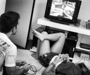 couple, in love, and video games image
