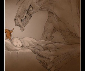 teddy bear, monster, and sleep image