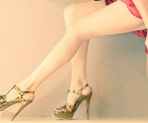 dress, shoes, and golden image