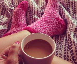 pink, coffee, and socks image