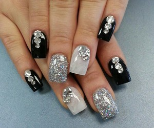 white, nailart, and black & image