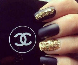 chanel and nail art black gold image