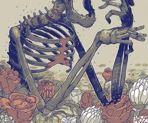 bird, skull, and art image