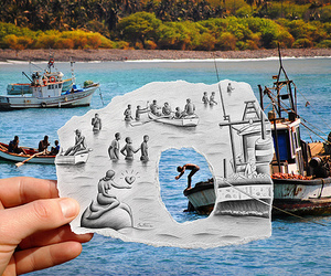 boat, drawing, and water image