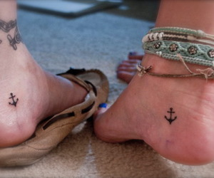 anchor tattoo, hipster, and anklets image