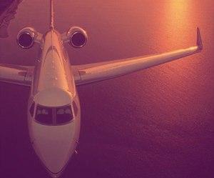 plane, sunset, and travel image