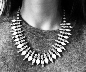 fashion, necklace, and black and white image