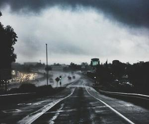 road, dark, and rain image