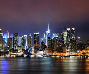 city, new york, and night image
